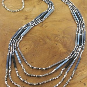 LONG 5-STRAND NECKLACE WITH BEADS AND WRAPPED THREAD