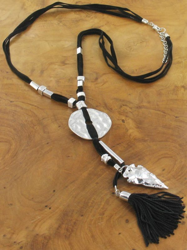 Suede Pendant with Beaten Metal Charms
