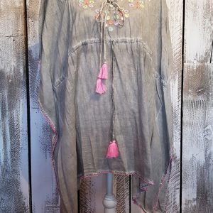 COTTON KAFTAN WITH MIRRORS & EMBROIDERY