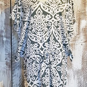 drawstring printed tunic dress