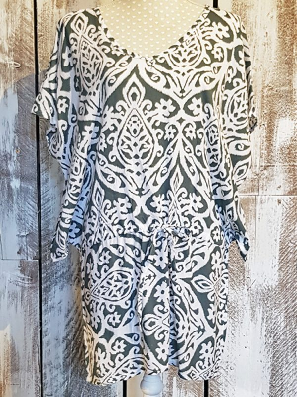 drawstring printed tunic dress