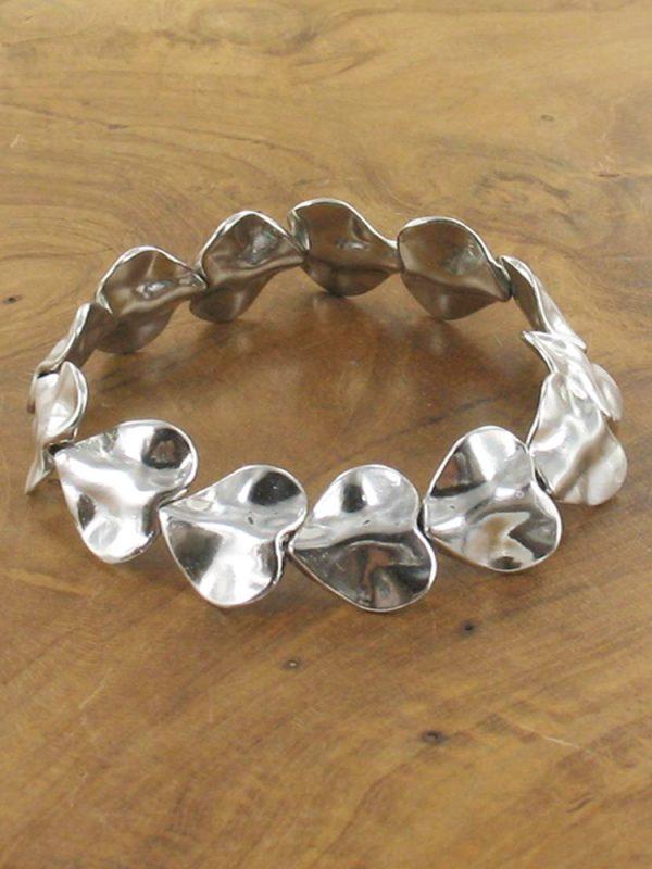 beaten metal hearts bracelet