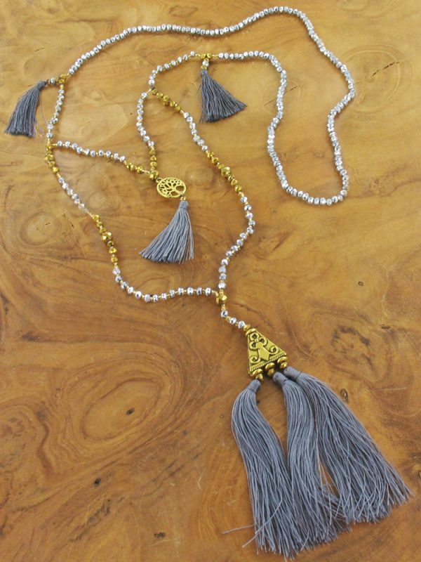 Gold and grey tassel necklace