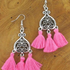 Hot pink triple tassel earrings
