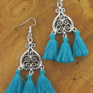Triple tassle earrings turquoise