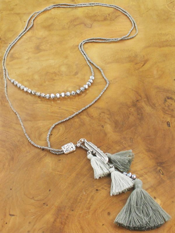 Gold and Grey Tassle Necklace