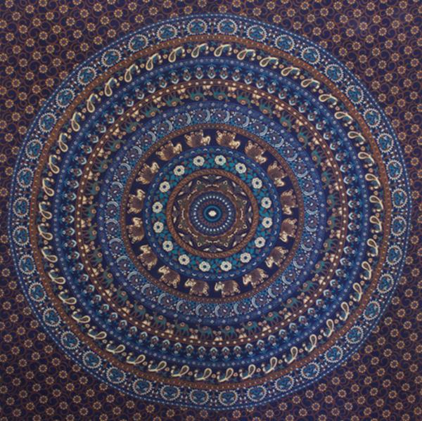 blue elephant mandala throw