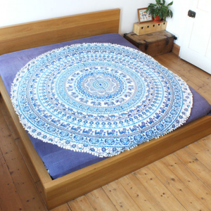 mandala blue circular throw