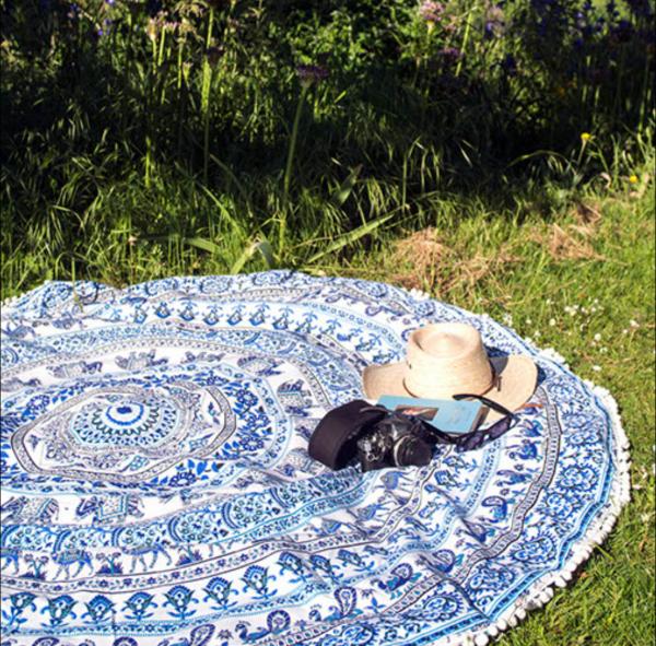 mandala throw on grass