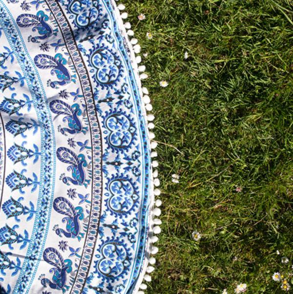 blue mandala throw detail